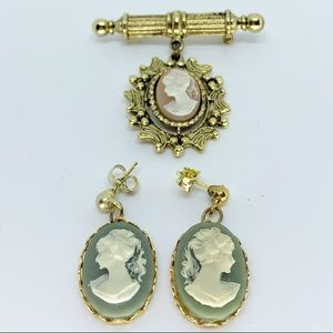 Vintage Costume Cameo Set - Brooch and Earrings